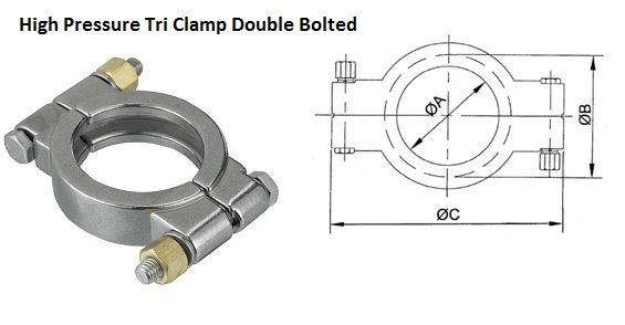 High Pressure Tri Clamp Double Bolted  Grade 304